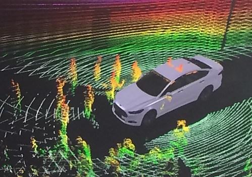 LiDAR Ford Fusion Energi concept car. LIDAR image from Ford.