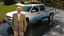VIA Motors Bob Lutz with electrified truck at his home in Detroit.