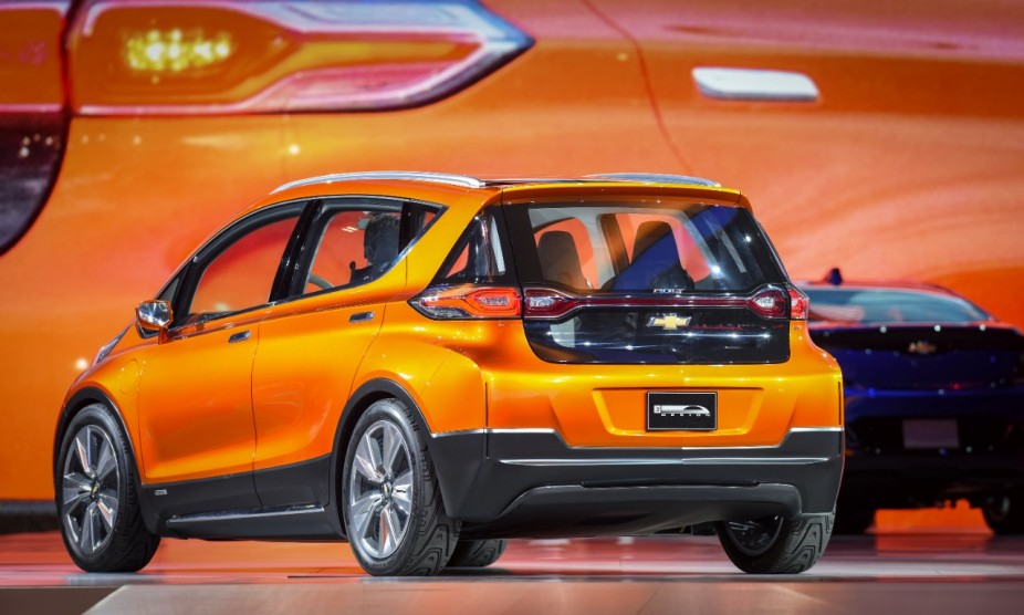 The Chevrolet Bolt EV concept vehicle makes its global debut Monday, January 12, 2015 at the North American International Auto Show in Detroit, Michigan. The Bolt EV concept is Chevrolet's vision for an affordable, long-range, all-electric vehicle designed to offer more than 200 miles of range - starting around $30,000. (Photo by Steve Fecht for Chevrolet) © General Motors