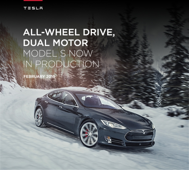 Tesla Model S All Wheel Drive. Image courtesy of TESLA Motors.